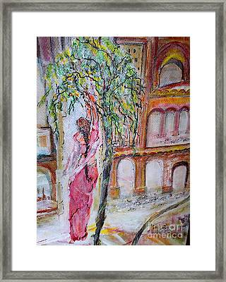 Everyday She Collects Flowers For Her God Framed Print