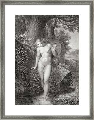 Eves Reflection In The Water Framed Print by Jules Richomme