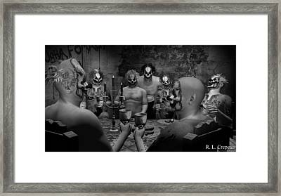 Evil Clown Banquet - Black And White Framed Print