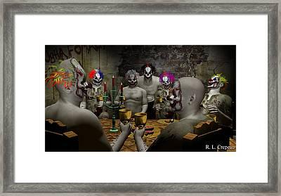 Evil Clown Banquet Framed Print