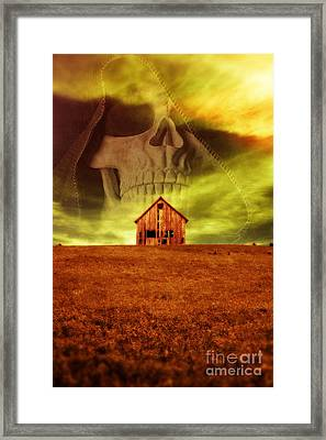 Evil Dwells In The Haunted House On The Hill Framed Print