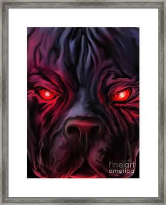 Evil Pitbull Eyes By Spano Framed Print by Michael Spano