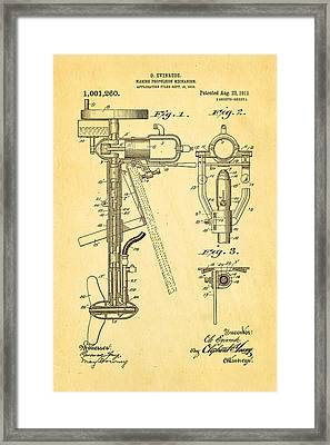Evinrude Outboard Motor Patent Art 1911 Framed Print by Ian Monk