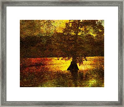 Framed Print featuring the digital art Evocative Waterscape Sunrise by J Larry Walker