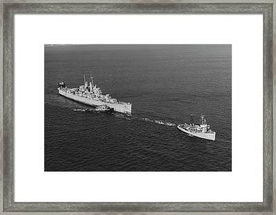 Ex-uss Vincennes Is Towed Out Of San Framed Print by Stocktrek Images