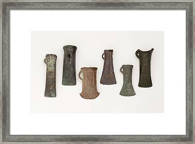 Examples Of Late Bronze Age Socketed Axes Framed Print by Paul D Stewart