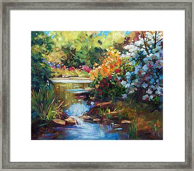 Exbury Spring Lake Framed Print by David Lloyd Glover
