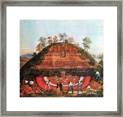 Excavation Of Indian Mound, 1850 Framed Print by Science Source