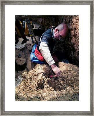 Excavations At Sima De Los Huesos Framed Print by Javier Trueba/msf