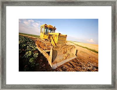 Excavator Working Framed Print by Michal Bednarek