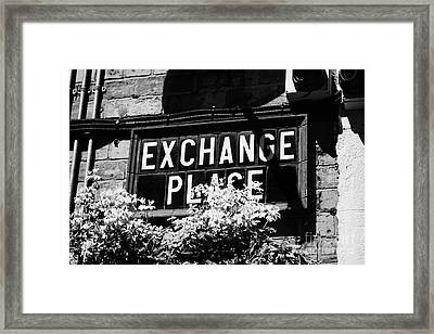 exchange place old Belfast city street names in cathedral quarter Northern Ireland UK Framed Print by Joe Fox