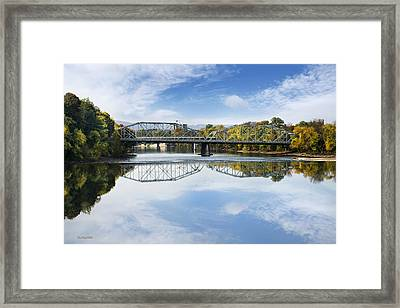 Framed Print featuring the photograph Exchange St. Bridge Rock Bottom Dam Binghamton Ny by Christina Rollo
