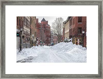 Exchange Street Historic  Snow Framed Print
