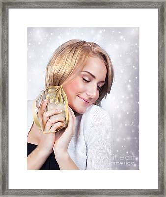 Excited Woman With Gift Box Framed Print