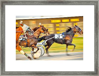 Excitement Of The Finish Framed Print
