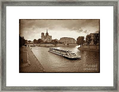 Excursion Boat On The Seine.paris Framed Print by Bernard Jaubert