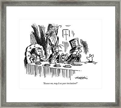 Excuse Me, May I See Your Invitation? Framed Print