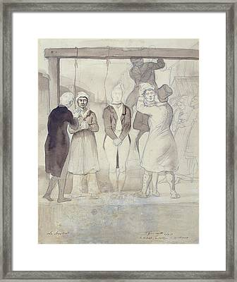 Execution In London The Punishment Wc & Pencil On Paper Framed Print by Theodore Gericault