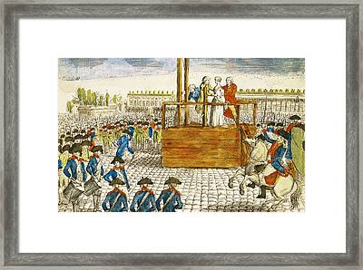 Execution Of Marie-antoinette 1755-93 In The Place De La Revolution, 16th October 1793 Coloured Framed Print by French School