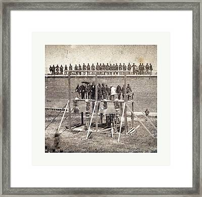 Execution Of The Conspirators, The Drop. Photographic Framed Print