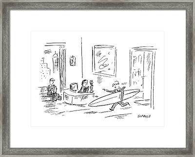 Executive Running From His Office With Surfboard Framed Print by David Sipress