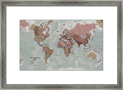 Executive World Wall Map Framed Print by Maps International