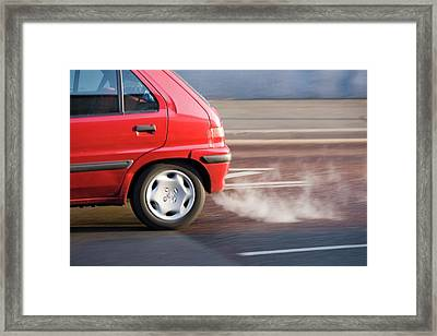 Exhaust Fumes From A Car Exhaust Framed Print by Ashley Cooper