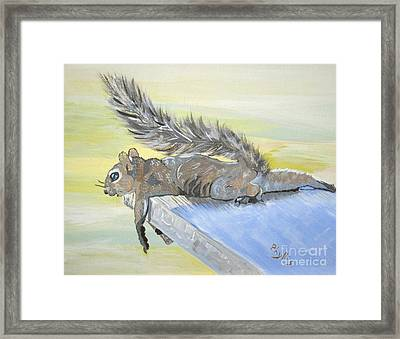 Exhausted Little Nevada Squirrel Framed Print by Phyllis Kaltenbach