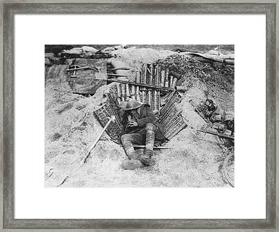 Exhausted Wwi Soldier Framed Print