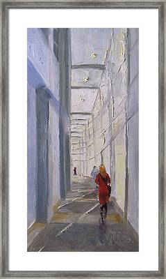 Exhibition Hallway Late Afternoon Framed Print