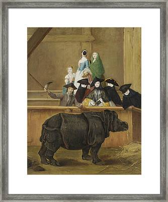 Exhibition Of A Rhinoceros At Venice Framed Print by Pietro Longhi