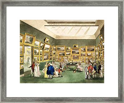 Exhibition Of Watercoloured Drawings Framed Print by T and Pugin and AC Rowlandson