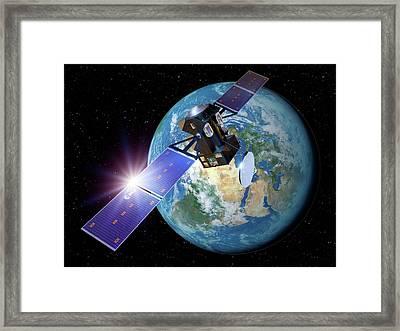 Exomars Orbiter Leaving Earth Framed Print by Detlev Van Ravenswaay
