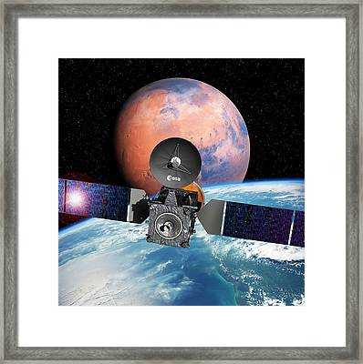 Exomars Spacecraft With Earth And Mars Framed Print by European Space Agency/d. Ducros