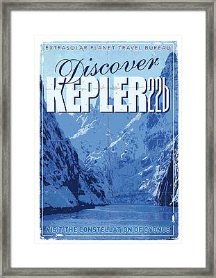 Exoplanet 02 Travel Poster Kepler 22b Framed Print by Chungkong Art