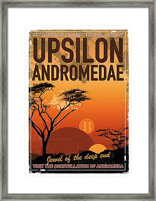 Exoplanet 06 Travel Poster Upsilon Andromedae 4 Framed Print by Chungkong Art