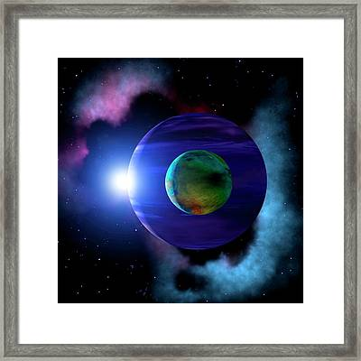 Exoplanet And Moon Framed Print by Mark Paternostro