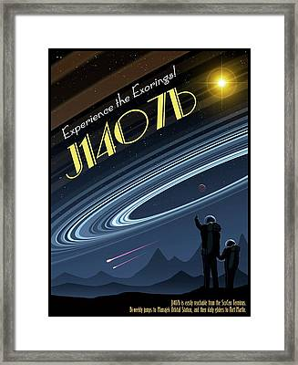 Exoring J1407b - Travel Poster Framed Print by Mark Garlick