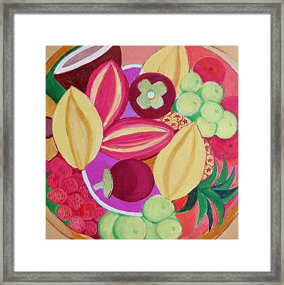 Exotic Fruit Bowl Framed Print by Toni Silber-Delerive