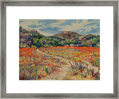 Framed Print featuring the painting Expanse Of Orange Desert Flowers With Hills by Thomas Bertram POOLE