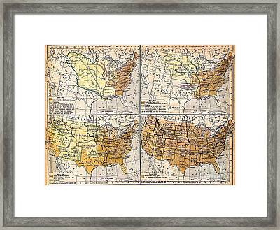 Expansion Of United States Territory Framed Print by Pg Reproductions
