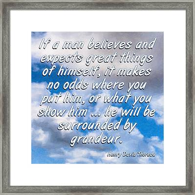 Expect Great Things - Thoreau Framed Print by Mark Tisdale