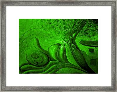 Expectation In Green Framed Print