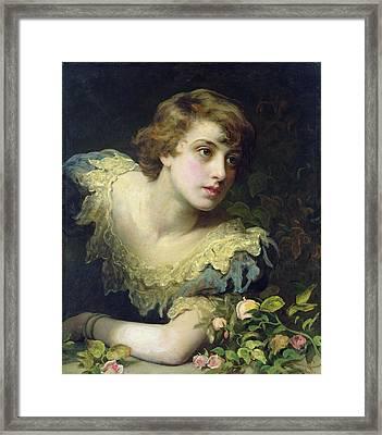 Expectation Oil On Canvas Framed Print by John Rogers Herbert