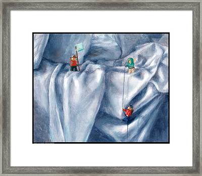 Expedition On An Unmade Bed Framed Print by Diana Moses Botkin