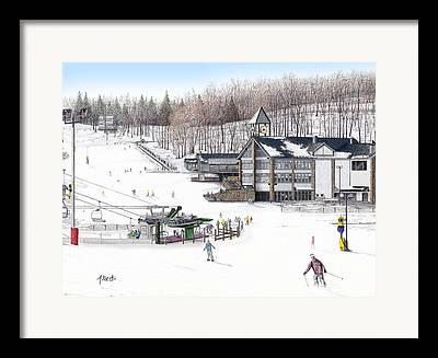 Winter Recreation Drawings Framed Prints