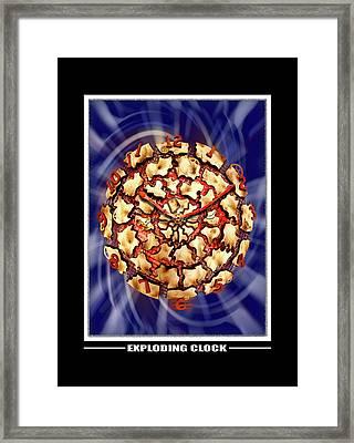 Exploding Clock Framed Print by Mike McGlothlen
