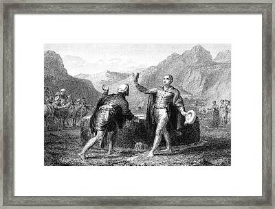 Explorer James Bruce Reaches The Source Framed Print by Mary Evans Picture Library