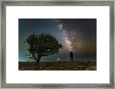 Explorer Looking At The Milky Way Framed Print