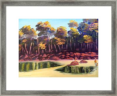Exploring On Echo Beach Framed Print